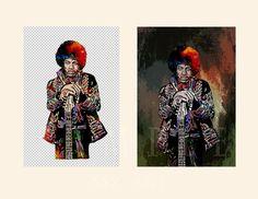 Jimi Hendrix.Digital download.Celebrity Art Portrait. by AszArt