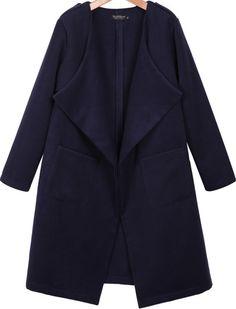 Dark Blue Lapel Long Sleeve Pockets Coat -SheIn(Sheinside) Mobile Site