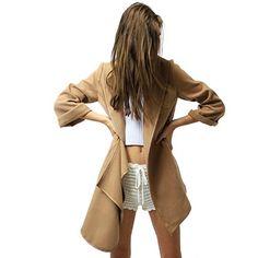 Schöner Stylischer Damen Kurzmantel Asymmetrisch Cardigan Trendcoat Mantel Gr S - XL