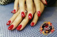 Gel extensions red powerful woman