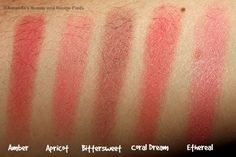 NYX Amber, Apricot, Bittersweet, Coral Dream and Ethereal Powder Blush Swatches Nyx Powder, Nyx Blush, Drugstore Makeup, Nyx Cosmetics, Ethereal, Swatch, Beauty Makeup, Amber, Coral