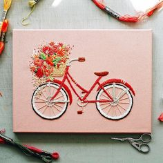 Embroidery Flowers Spill From the Bikes' Baskets in Whimsical Bicycle Art