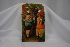 vtg valentine card German standup cardboard boy girl carving tree EPHEMERA