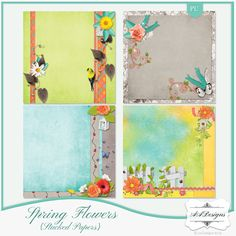 Spring Flowers {Stacked Papers} by #AADesigns #scrapbooking #Digiscrapbooking - You can find it at my stores, visit my blog to find them: http://aadigitalart.blogspot.com.br/.