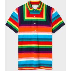 fad197818126c Paul Smith Men s Multi-Colour Mesh Stripe Polo Shirt ( 375) ❤ liked on