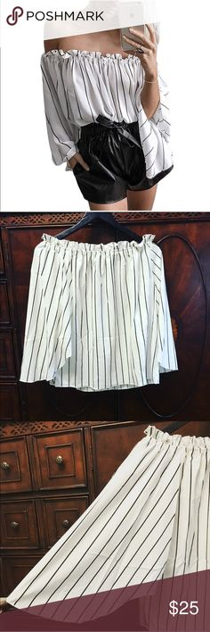 NWOT Off the shoulder stripe blouse Very feminine stripe blouse.  Great casual or for a night out with pant or a skirt. Tops Blouses