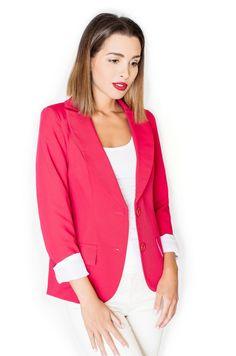 Czerwony żakiet zapinany na guziki Blazer, Jackets, Women, Fashion, Down Jackets, Moda, Fashion Styles, Blazers, Fashion Illustrations
