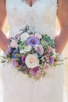 bridal bouquet: vintage roses, hydrangeas and succulents