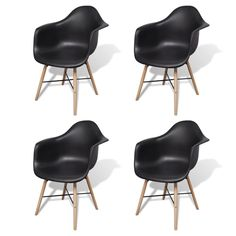 vidaXL Dining Chairs with Beechwood Legs Black Kitchen Furniture Seats Retro Dining Chairs, Plastic Dining Chairs, White Dining Table, Leather Dining Room Chairs, Dining Table Chairs, Dining Room Furniture, Black Kitchen Furniture, Home Office Chairs, Furniture Direct