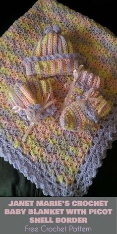 Janet Marie's Baby Blanket With Picot Shell Border [Free Crochet Pattern]