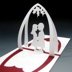 kissing couple popup card
