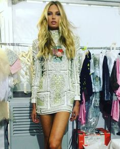 Pin for Later: These BTS Photos From the Victoria's Secret Holiday Shoot Might Set Your Screen on Fire Romee Strijd Wore a Bejeweled Balmain Dress