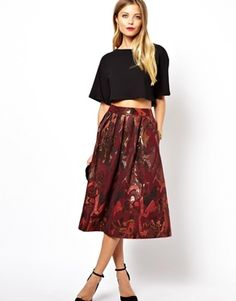 Image 1 ofASOS Full Midi Skirt in Camo Jacquard Print
