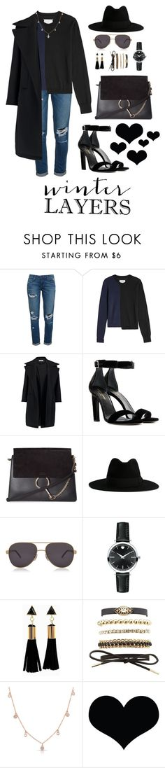 """""""Winter Layers"""" by oliviaangelina ❤ liked on Polyvore featuring Paige Denim, Maison Margiela, Jil Sander, Yves Saint Laurent, Chloé, Chopard, Movado, Charlotte Russe and Anne Sisteron"""