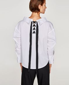 BLOUSE WITH CONTRASTING BOW-View all-TOPS-WOMAN | ZARA United States