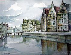 Graslei in Ghent, aquarelle, Marcel Reynaert