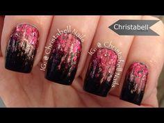 ChristabellNails Waterfall Glitter Gradient Nail Art Tutorial - YouTube