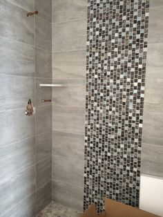 12 X 24 Porcelain Shower Walls W/ Stone And Glass Tile Lisello; Staggered  Stone