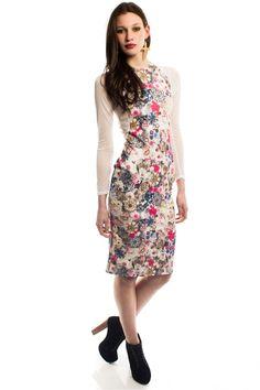 Maci Floral & Jewel Print Mesh Body Con Dress - Party Dresses