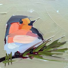 Robin no. 147 Original Bird Oil Painting by Angela Moulton 5 x 5 inch on Birch Plywood Panel pre-order by prattcreekart on Etsy