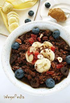 Czekoladowa OWSIANKA zmasłem orzechowym bezmleka krowiego Bon Appetit, Kiwi, Acai Bowl, Cereal, Oatmeal, Breakfast, Food, Meal, Eten