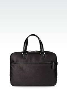 Briefcase in Logoed Fabric with Detachable Shoulder Strap  e296cfa4dcaf4