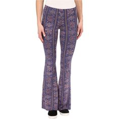 Billabong Summer Crush Women's Casual Pants, Blue ($28) ❤ liked on Polyvore featuring pants, blue, print flare pants, lightweight summer pants, flared trousers, flare pants and stretch waist pants