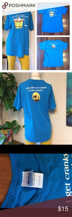 """Blue Bell Ice Cream Novelty T Shirt Unisex 🍦sweet blue bell t shirt - marked size Large. Unisex.                                                                🍦Excellent condition, very gently worn!       🍦Approx measurements laid flat- (double where necessary)  Shoulder to shoulder: 20.5"""" Underarm to underarm: 21"""" Waist: 21"""" Shoulder to hem: 29.5"""" Sleeve: 7""""           (posh only) Gildan Tops Tees - Short Sleeve"""