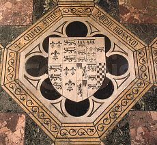Anne Boleyn's grave marker in the chapel of St Peter-ad-Vincula within the Tower of London. She is supposed to be buried just in front of the altar.