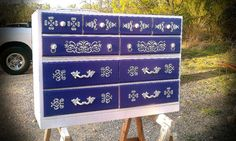SOLD Vintage Dresser 10-Drawer Chest of Drawers Retro Painted Furniture.  $400