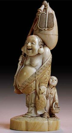 19th Century Japanese Ivory Okimono of Happy Buddha with Boy