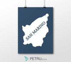 San Marino print - San Marino art - San Marino poster - San Marino wall art - San Marino printable poster - San Marino map - San Marino navy by Exit8Creatives on Etsy
