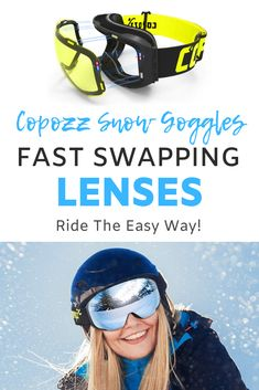 Ever find it impossible to change your snow goggle lenses when the weather conditions suddenly change from sunny to stormy? Gone are the days that you simply have to put up with low visibility with these Copozz magnetic lens goggles, where you can change lenses instantly. You don't even need to take your gloves off with this cool value added cool gadget! #snowboard #ski #snow #coolgadget #gadget Ski Goggles, Snow Skiing, Cool Gadgets, Weather Conditions, Suddenly, Snowboard, Lenses, Magnets, Gloves