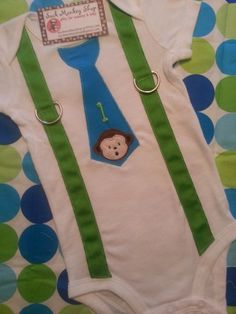 Suspender Tie Monkey 18 month Onesie, 1st Birthday | sockmonkeyshop - Clothing on ArtFire