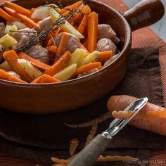 worst, wortel, aardappel, tijm, gembersiroop