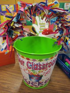 "The classroom bucket system: I put styrofoam peanuts that I call ""nuggets"" in the bucket each time the class is working well and being kind to each other. If we get a compliment by another teacher or any adult then I add some nuggets. Once our classroom bucket is full the class will get rewarded with a party."