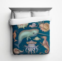 Sea Creatures Duvet Cover by sharpshirter on Etsy https://www.etsy.com/listing/211935366/sea-creatures-duvet-cover