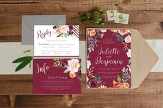 Paper Alphabet Wedding Invitations: This wedding invitation suite design features a beautiful burgundy/orange floral watercolour illustration with a classic calligraphy style script. Unique Invitations, Printable Invitations, Baby Shower Invitations, Birthday Invitations, Watercolour Illustration, Alphabet Design, Wishing Well, Wedding Invitation Design, Floral Watercolor