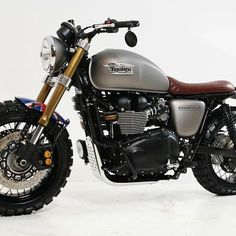 Look at a few of my most favorite builds - custom made scrambler bikes like this Honda Scrambler, Scrambler Motorcycle, Moto Bike, Motorcycle Pants, Motorcycle Camping, Bike Handlebars, Camping Gear, Triumph Cafe Racer, Triumph Motorcycles
