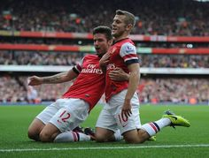 Arsenal 4 Norwich City 1 - Jack and Olivier after our sensational team goal.
