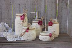 Mason Jar Bathroom Set, Ivory, Orchid, Rose, Shabby Chic, Soap Dispenser, Bathroom Jars, 5 Piece Set, Rustic, Distressed, Metal Soap Pump by TheVintageArtistry on Etsy https://www.etsy.com/listing/242509933/mason-jar-bathroom-set-ivory-orchid-rose