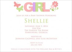 Baby Shower Invitations : Baby Shower Invitations for Girl with Colorful Lettering Quote and White Paper Art Material Design - Baby Shower Invitations For Girls Templates