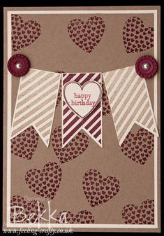 Love Heart Birthday Card using the Hearts A Flutter Stamp Set by Stampin' Up! Demonstrator Bekka Prideaux - get your Stampin' Up! goodies here