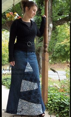 DIY, refashion jeans into a skirt or just buy one from this site.
