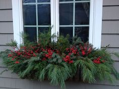 Winter Window Box Ideas Holiday Decorating - About Garden and Flowers Winter Window Boxes, Christmas Window Boxes, Christmas Urns, Christmas Window Decorations, Christmas Arrangements, Country Christmas, Christmas Holidays, Christmas Wreaths, Xmas