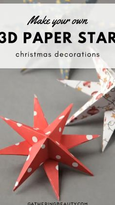 DIY PAPER STAR CHRISTMAS DECORATIONS Looking for an easy diy Christmas decoration? These pretty paper stars are easy to make and look stunning. Thread on a piece of cotton and hang from the ceiling or prop up on a mantle for a festive fireplace Diy Christmas Star, Christmas Origami, Diy Christmas Cards, Simple Christmas, Christmas Crafts, Oragami Christmas Ornaments, Diy Christmas Videos, 3d Paper Star, Paper Tree
