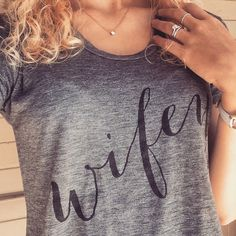 Cozy weekend look in our 'Wifey Tee' this tee is seriously the softest tee you will ever wear! {Tee link in Bio} ( @julia9g) #wifey