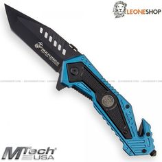 "MTECH USA MARINES Tactical Rescue Knife M-A1033BL, folding rescue tactical knives with blade of AISI 440 stainless steel of high quality with surface treatment in Black Idroglider® a coating based on PTFE very resistant to abrasion and waterproof - Blade lenght 3.4"" - Handle made of Blue Anodized Aluminum - Back Glass Breaker - Rope Cutter - Liner Lock system - Back Clip - Overall lenght 8.2"" ​​- Design by Mtech Knives Usa...."