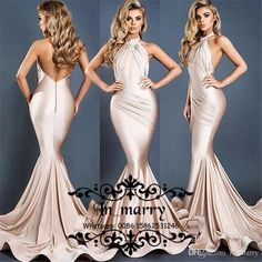 2017 Michael Costello Champagne Mermaid Evening Dresses Sexy Backless High Neck Long Satin Plus Size Cheap Celebrity Dresses Evening Wear Prom Dresses 2017 Arabic Evening Dresses Plus Size Evening Dresses Online with $176.0/Piece on In_marry's Store | DHgate.com