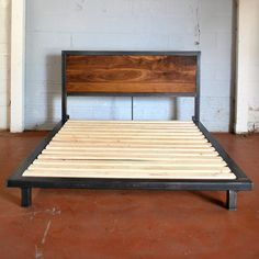 Kraftig Platform Bed with Rough Walnut Headboard by deliafurniture, $1000.00